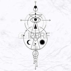 Vecteur g�om�trique symbole de l'alchimie avec les yeux, la lune, les formes. R�sum� occulte et signes mystiques. Logo design lin�aire et spirituelle. Concept de l'imagination, de la magie, de la cr�ativit�, de la religion, l'astrologie photo