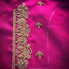 No automatic alt text available. Wedding Saree Blouse Designs, Pattu Saree Blouse Designs, Blouse Designs Silk, Designer Blouse Patterns, Lehenga Blouse, Hand Work Design, Hand Work Blouse Design, Simple Blouse Designs, Simple Designs