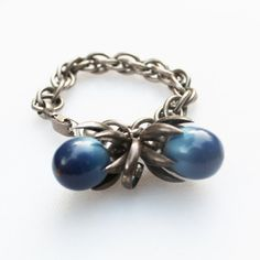 Silver Napier Chunky Bracelet with Blue by Gener8tionsCre8tions, $125.00