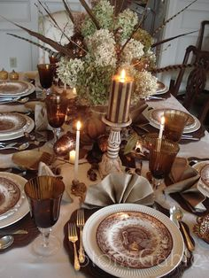 StoneGable: Thanksgiving Table.  These are my turkey plates my dad bought me when Tim and I were married!  I love them!
