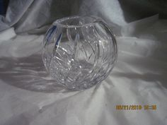 Vintage Round Poland Hand-Cut 24% Lead Crystal Clear Rose Bowl Vase