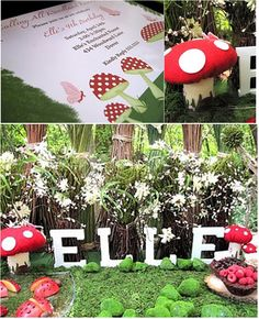 Love the toadstools and the large letters spelling her name!  How sweet would this be!