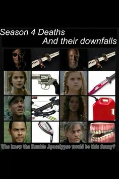HAHA Martinez got killed by a golf club but the most brutal was by far Joe's-you know-not that he didn't deserve it.And then there's Mika Walking Dead Funny, Fear The Walking Dead, Daryl And Rick, Amc Shows, Dead Inside, Television Program, Zombie Apocalypse, Best Shows Ever, Divergent