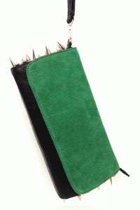 Bold Temper Spike & Rhinestones Oversize Clutch Bag In Black/Green/Gold Spikes