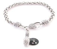 Sports Accessory Store is proud to bring you this Beautiful, Fashionable, and Elegant Silver Plated Lobster Claw Chain Bracelet. Bracelet measures approximately 7.5 inches in diameter and features a stunning Clear Crystal Silver Plated Bowling Pin and Ball Charm. Complete the Collection, make sure to check out the matching Earrings, Necklace, and Stretch Ring.      7.5 Diameter Silver Plated Chain Bracelet  Lobster Claw Clasp  Silver Plated Charm  Clear Crystals