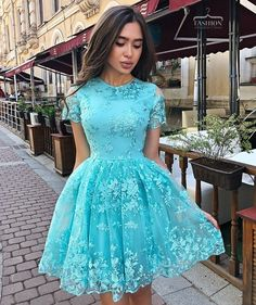 Unique Prom Dresses, A Line Short Sleeve Lace Homecoming Dress, Charming Short Prom Dress with Short Sleeves, There are long prom gowns and knee-length 2020 prom dresses in this collection that create an elegant and glamorous look Blue Homecoming Dresses, Long Prom Gowns, Short Prom, Sweet 16 Dresses, Short Dresses, Formal Dresses, Elegant Dresses, Sexy Dresses, Party Dresses