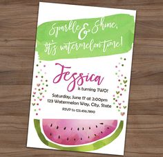 Watermelon Invitation - Summer Picnic Birthday Party Invite - BBQ - Outdoors - Sweet - Printable or Printed - SHIPPING INCLUDED - 4x6