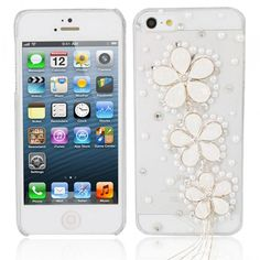 Flowers Style Rhinestone Hard Back Case for iPhone 5 White (1) ( 13) ❤  liked on Polyvore featuring accessories 903c8afd2cc4