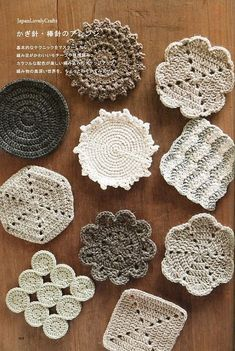 Items similar to 50 Coasters Patterns, Japanese Crochet, Knitting, Hand Embroidery, Sewing Pattern Book - Eriko Aoki - Easy Tutorial - on Etsy Crochet Coaster Pattern, Crochet Motifs, Crochet Doilies, Crochet Flowers, Crochet Stitches, Thread Crochet, Crochet Home, Crochet Gifts, Diy Crochet