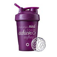 Achieve Anything Blender Bottle Shaker Cup 20oz Classic Blender Bottles (Plum - 20oz)