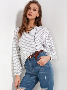 Stripe Simple Loose Women's T-Shirt