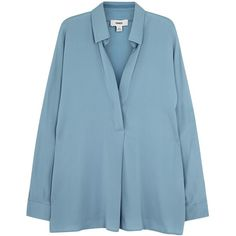 Vince Blue silk blend blouse (1,435 SAR) ❤ liked on Polyvore featuring tops, blouses, blue blouse and blue top