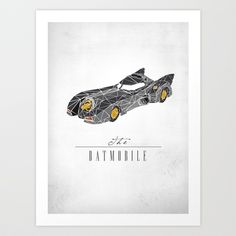 The Batmobile Art Print by Josh Ln - $15.00