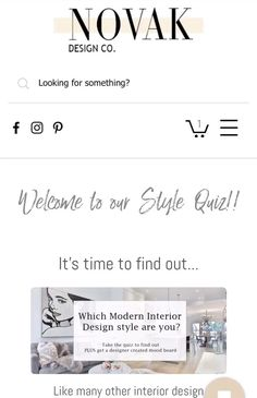 This quiz determines which modern interior design subcateogies your personal style falls under.   Your results will include a style breakdown and an inspirational mood board!  Modern Glam // Modern Rustic // Modern Farmhouse // Mid Century Modern // Modern Contemporary.