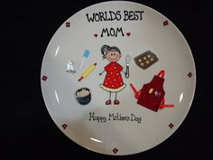 Mothers Day Personalized Hand Painted Plate