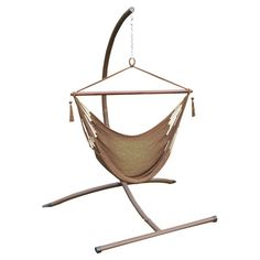 Get cozy on the patio or enjoy an evening on your porch with this woven hammock chair, featuring a powder-coated steel stand.    P...
