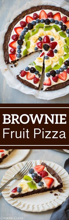 Brownie fruit pizza - cooking classy dessert and snack recip Pastas Recipes, Fruit Recipes, Brownie Recipes, Healthy Recipes, Baking Recipes, Snack Recipes, Dessert Recipes, Pizza Recipes, Brownie Fruit Pizzas