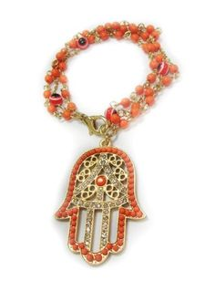 Coral Evil Eye Hamsa Beaded Bracelet with Hand of Fatima Charm - Good Luck Bracelet - Adjustable: http://www.amazon.com/Coral-Hamsa-Beaded-Bracelet-Fatima/dp/B0076ON86G/?tag=greavidesto05-20