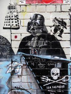 Dalek and Darth Vader street art (Blender Lane, Melbourne).