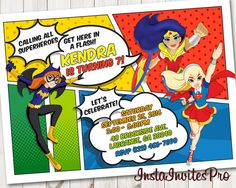DC Superhero Girls Invitation DC Superhero by InstaInvitesPro Girl Superhero Party, Superman Party, Girls Party, Wonder Woman Party, 6th Birthday Parties, 9th Birthday, Birthday Ideas, Dc Super Hero Girls, Girl Themes