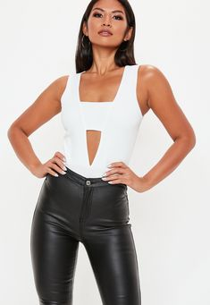 115242eee3adf Missguided White Crepe Panel Front Bodysuit
