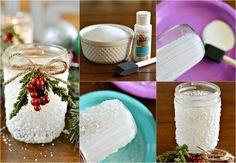 idées déco Noël - photophore réalisé en bocal décoré de sel marin, branchette de baies rouges et ficelle de jute