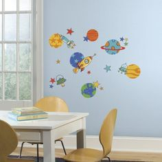 RoomMates RMK2618SCS Planets and Rockets Peel and Stick Wall Decals -- Click on the image for additional details.Note:It is affiliate link to Amazon.
