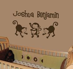 Personalized Wall Decal  Pop Monkey  theme with by stixdesign, $18.50