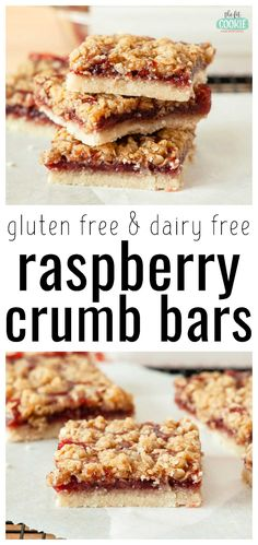 These gluten free Raspberry Crumb Bars feature layers of fruity flavor over a buttery cookie crust topped with a brown sugar crumble. Believe it or not, these delicious and fruity bars are also completely dairy free, egg free, and nut free! | thefitcookie.com Gluten Free Brownies, Gluten Free Snacks, Gluten Free Cookies, Gluten Free Baking, Dairy Free Recipes, Snack Recipes, Dessert Recipes, Vegetarian Recipes, Peanut Butter Desserts