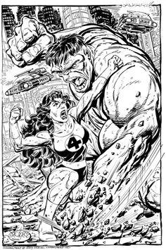 She-Hulk Vs Hulk commission by John Byrne. 2007.