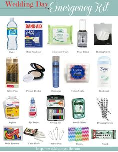 Wedding Day Emergency Kit (for the ladies). Click thorugh for the complete list: http://su.pr/2iOOWo
