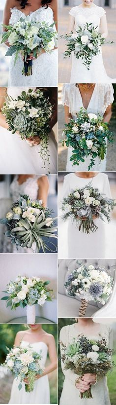 trending greenery wedding bouquets with succulents for 2018