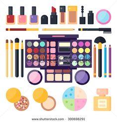 Beauty Shop. Women's Cosmetics. Vector Flat Illustration.