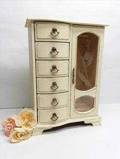 Large Vintage Shabby Chic Wooden Jewelry Armoire Painted Cream Distressed Ivory Jewelry Box