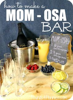 Learn how to make a mimosa Bar for a mother's brunch idea. Have Momosa's on to celebrate moms on Easter. Perfect for Easter Brunch idea for a party. day brunch Watch Bravo's Odd Mom Out With a Drink Bar for Mom's Night In Party Drink Bar, Bar Drinks, Food And Drink, Brunch Drinks, Beverages, Mimosa Brunch, Brunch Bar, Champagne Brunch, Brunch Buffet