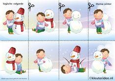 Leg de plaatjes van de sneeuw in logische volgorde 2 , juf Petra van kleuteridee, thema winter voor kleuters, Snowman sequence free printable.