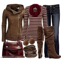 brown and burgandy outfit.  I'm loving this color of red right now!