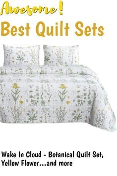 Wake In Cloud - Botanical Quilt Set, Yellow Flowers Green Leaves Floral Pattern Printed on White, 100% Cotton Fabric with Soft Microfiber Inner Fill Bedspread Coverlet Bedding (3pcs, Queen Size) ... (This is an affiliate link) #quiltsets