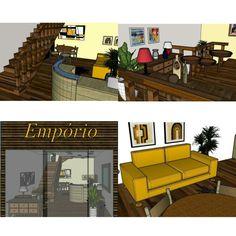 Projeto loja shopping  - Vista fachada/interna 1° e 2° pavimento