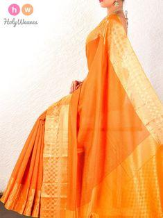 78e717fa9c0e22 Orange Tanchoi Brocade Handwoven Pure Cotton Silk Saree