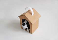 Cardboard dogs house. Now, my dog can take a walk with me!