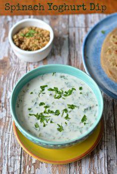 Paalak ka Raita :: Spiced Spinach Raita :: Low fat Spinach yoghurt dip – The Veggie Indian