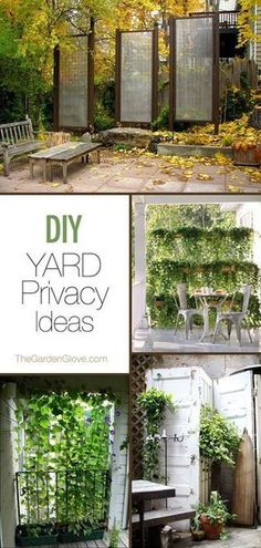 diy garden ideas Need backyard privacy ideas? Make these garden privacy screens with small trees, plants and other easy to find supplies! Diy Garden, Dream Garden, Garden Art, Garden Ideas, Fence Ideas, Pergola Ideas, Backyard Ideas, Fence Options, Diy Fence