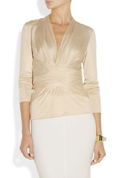 Cream silk-jersey Gathered wrap-effect front, waist ties  Slips on 100% silk Dry clean  Designer color: Desert