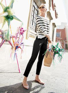 Oui, s'il vous plait. Easy-Fit Striped Crewneck Sweater w/ Side Snaps, Martie Cropped Slim-Fit Pant, Leather Lace-Up Ballet Flats   J. Crew
