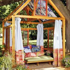 25 Beautifully Inspiring DIY Backyard Pergola Designs For Outdoor Enterntaining usefuldiyproject pergola design Outdoor Rooms, Outdoor Gardens, Outdoor Living, Outdoor Curtains, Outdoor Retreat, Backyard Retreat, Outdoor Lounge, Outdoor Bedroom, Outdoor Privacy