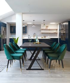 Velvet and Dark Oak Dining Set - Dining Set - Ideas of Dining - Add Drama to your home with our Clover Velvet Dining Chairs and Dark Oak Nala Dining Table. This velvet and dark oak dining set will create style and class to any home. Oak Dining Sets, Dining Table Design, Dining Table Chairs, Dining Furniture, Blue Velvet Dining Chairs, Designer Dining Chairs, Dinning Chairs Modern, Foldable Dining Table, Contemporary Dining Sets