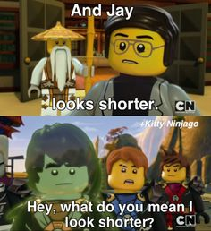 Actually Jay does look shorter standing between Kai and Cole. I didn't think that Legos could get or be shorter! Ninjago Memes, Lego Ninjago Movie, Lego Movie, Ninjago Cole, Treasure Planet, What Do You Mean, Season 12, Kids Shows, Lego Sets