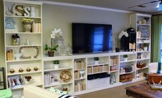 Elementary Organization: billy bookcase built-in bonanza. WITH SPACE FOR A TV!!!! YES!!! :) :) :)