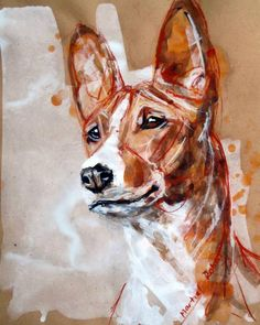 Basenji portrait. Basenji dog art portraits, photographs, information and just plain fun. Also see how artist Kline draws his dog art from only words at drawDOGS.com #drawDOGS http://drawdogs.com/product/dog-art/basenji-dog-portrait-by-stephen-kline/